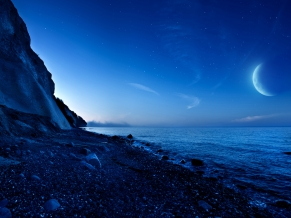 Nightfall Mountain Sea Moon