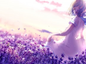 Anime Girl Lavender Purple Flowers 4K