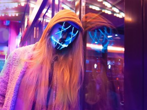 Anonymous LED Mask Girl 4K
