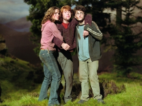 Emma Watson with other crew in Harry Potter