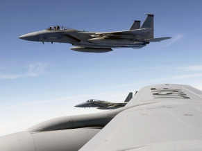 F 15 Eagle flies with KC 135 Stratotanker