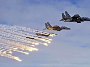 F 15E Strike Eagles Launch Chaffs & Flares