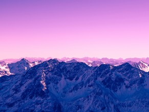 Pink Sky Mountains 4K