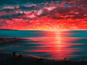 Sunset Digital Paint 4K