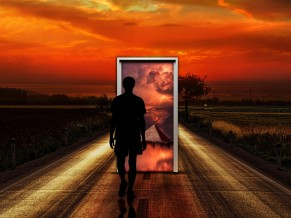 Surrealism Man Door Imagination 4K HD