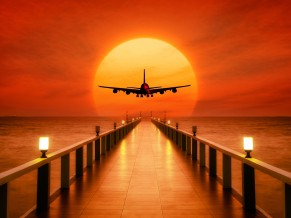 Airplane Sunset Takeoff