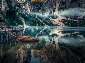 Braies Lake Panoramic viewin Dolomites mountains Italy 5K